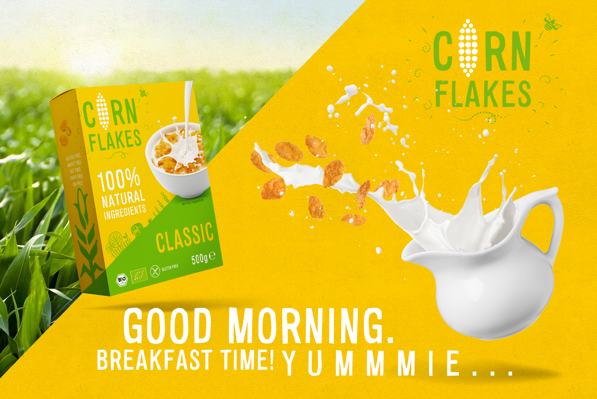 Corn Flakes Packaging Design KeyVisual