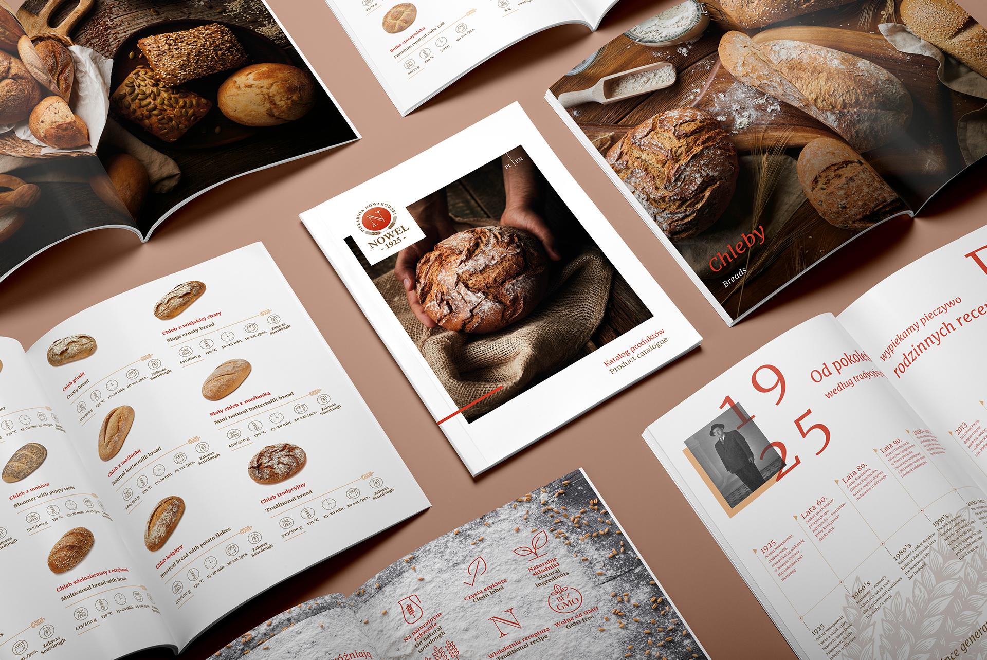 Projekt graficzny katalogu produktowego piekarni Nowel