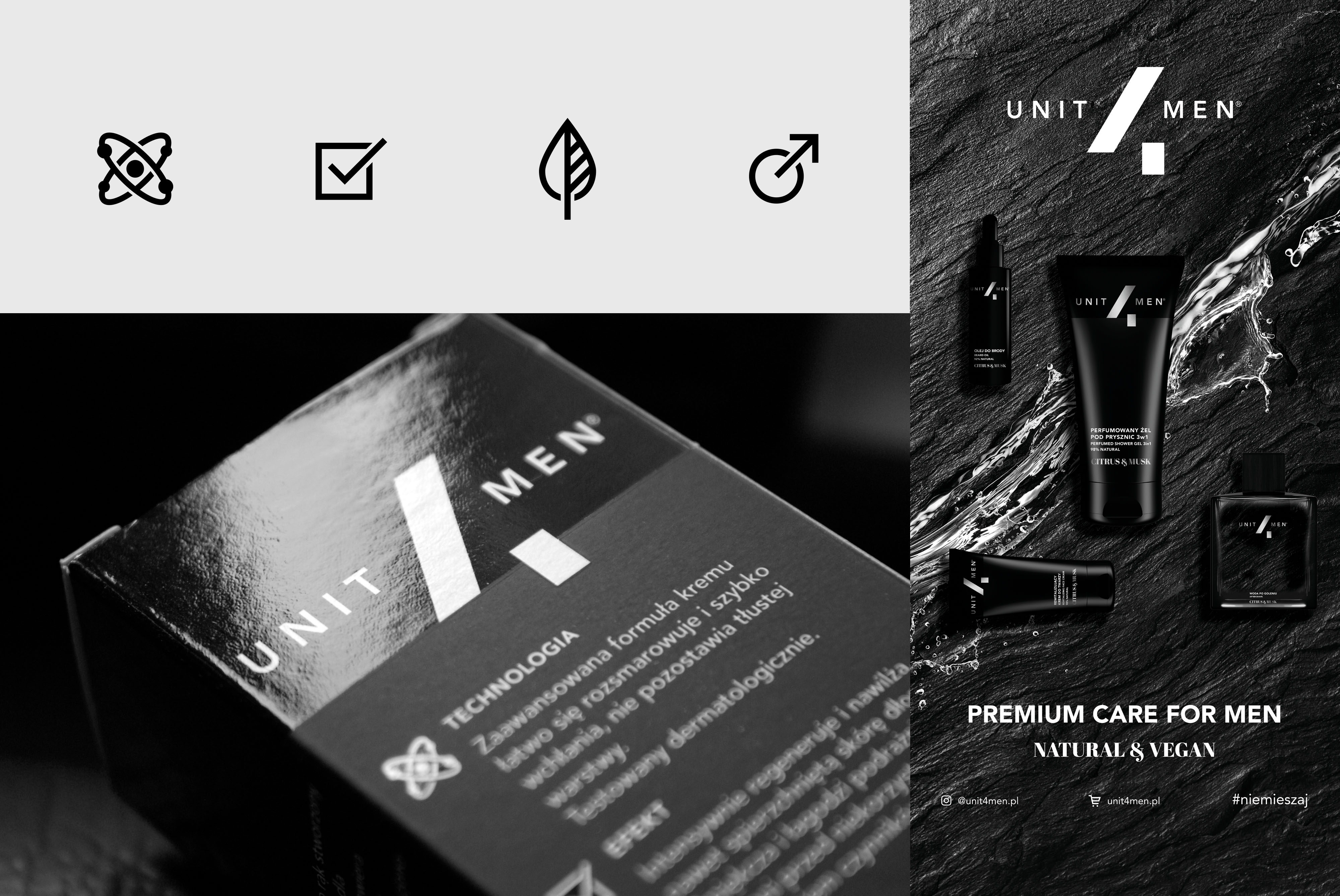 UNIT4MEN Branding and Packaging for Men's Premium Cosmetics