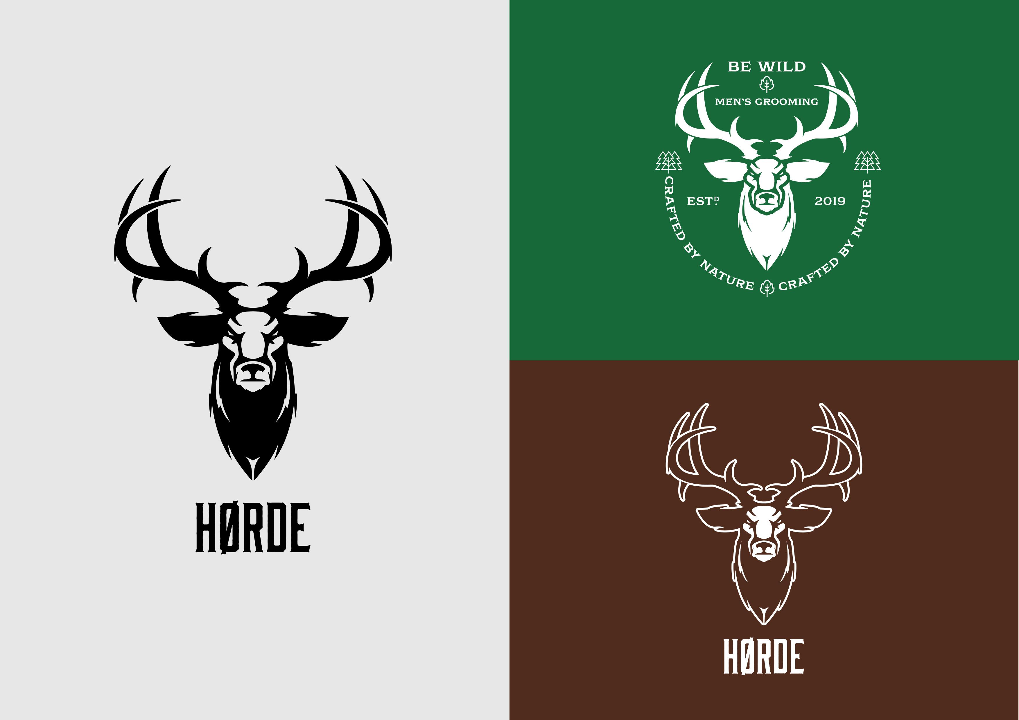 Horde Deer Logo Branding Beard Oil