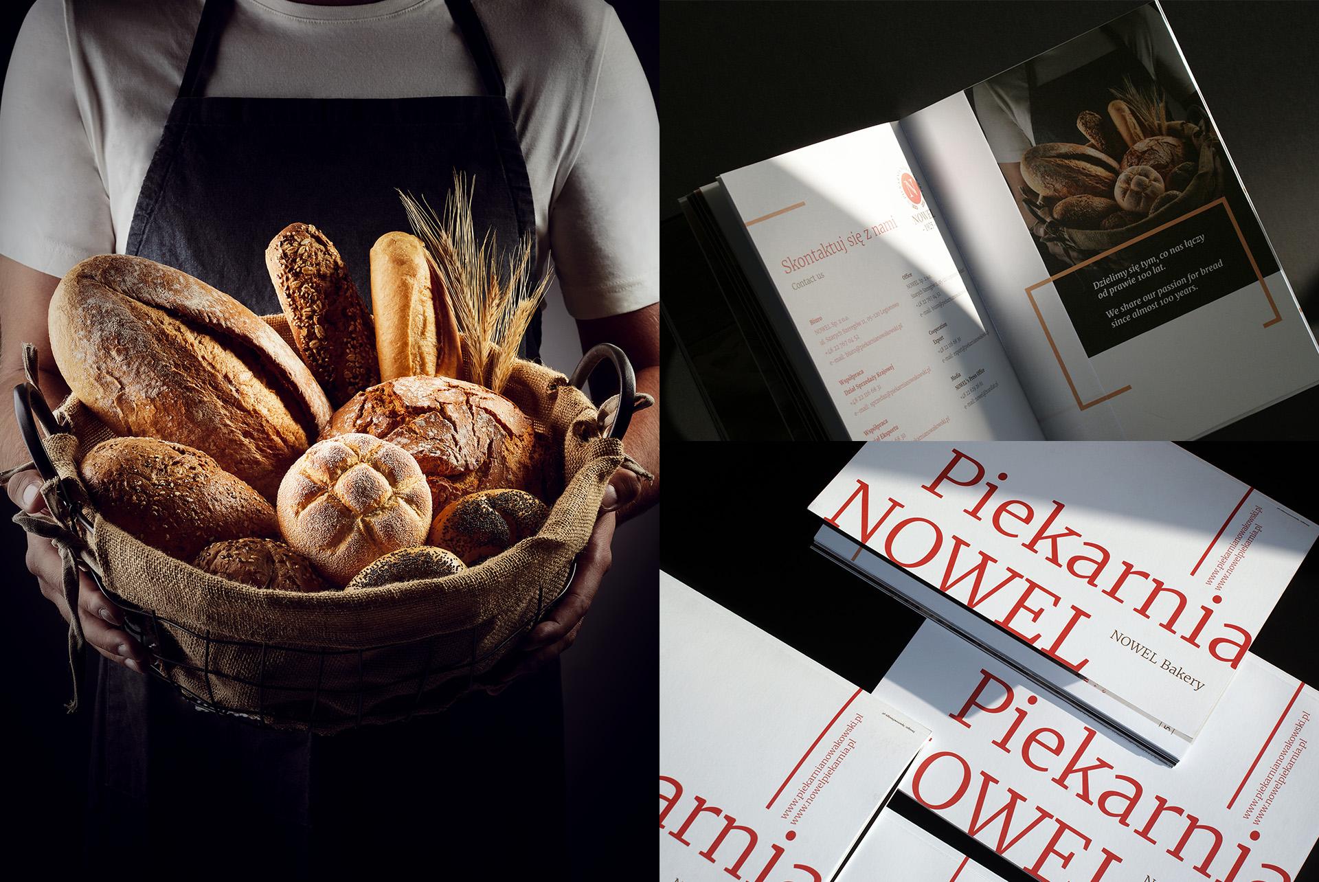 Folder wizerunkowo produktowy grafika piekarnia Nowel