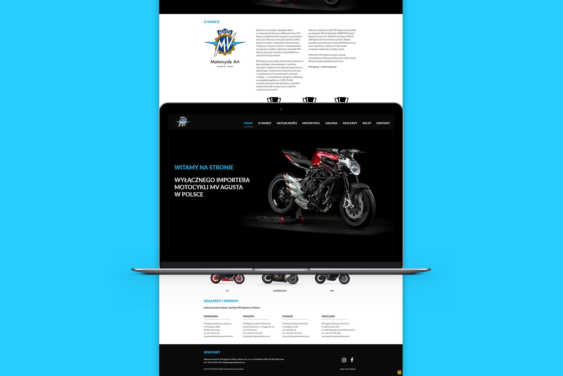 Projekt graficzny strony www MV AGUSTA